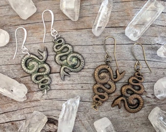 Medusa - Snake - Earrings - Green -  Goth - Jewelry - Witchy - Oddities - Serpent - Gothic - Spooky - Vintage - Jewelry - Dark - Bronze