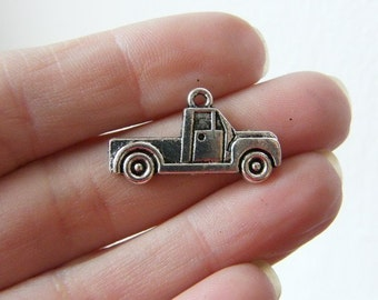 8 Truck charms antique silver tone TT4