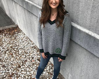 Preppy Monogrammed V-Neck Pullover Sweater With Stripes