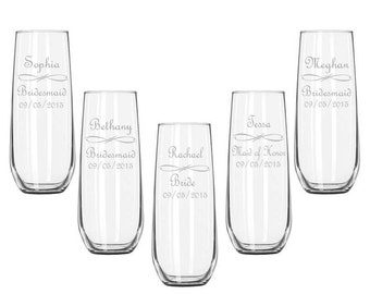 Custom Etched Stemless Champagne Glasses / Personalized Wedding Party Flutes / Bridesmaids Gifts / Wedding / Custom Engraved / 16 DESIGNS