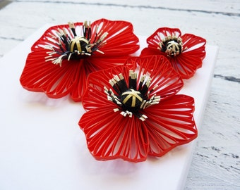 Luxury Paper Gift Box With Quilled Poppy/Handmade Gift Box