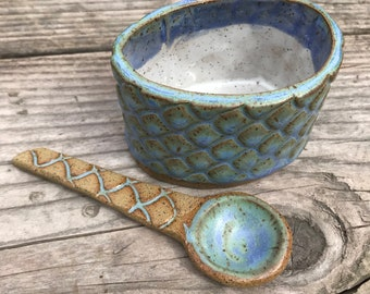Ceramic salt cup sugar bowl weathered blue scale pattern with matching spoon IN stock Ready to Ship