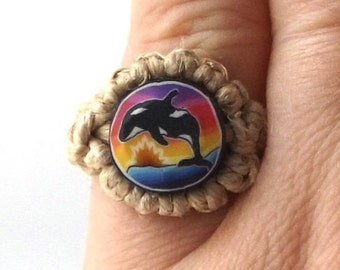 vintage 90s hemp ring macrame jewelry hippie sunset orca whale polymer clay bead gift for her gift for women gift