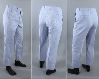 1970s Vintage Boys Dress Pants / 1980s Teen Young Mens Slacks / Farah / Light Blue Preppy Country Club Trousers / Mod / 24x26