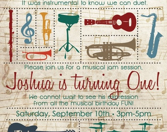 Music Birthday Invitation for Kids - Birthday Card - Girl Birthday - Boy Birthday - Musical Birthday - Instruments - Personalized Invitation