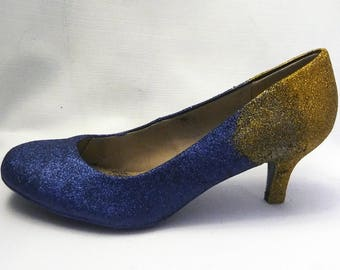Ombre Glitter Heels / Navy Blue Glitter Heels / Wedding Shoes / Sparkle  Heels / Sparkly Shoes / Wedding Heels / Womens Pumps / Womenu0027s Shoes