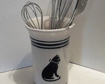 Utensil Crock Pfaltzgraff, Pfaltzgraff Cat Utensil Container, Pfaltzgraff Spectrum Line COUNTRY FAIR Cat Utensil Canister, Farmhouse Decor
