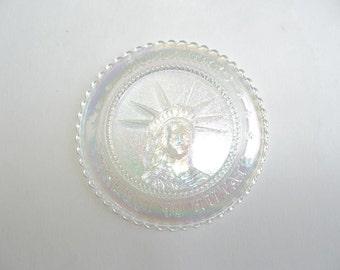 Centennial Statue Liberty Cup Plate Vintage Iridescent Glass Millville Art Glass Vintage Souvenir New York City