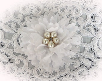 Reneabouquets Flower -So Shabby White Chiffon Large Flower,  Pearl And Rhinestone Fabric Flowers