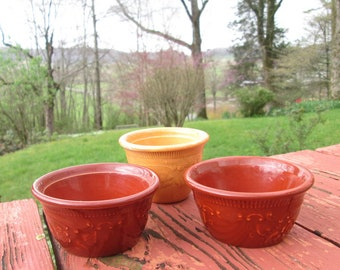 Three Vintage Pottery/ Stoneware Custard Cups - T.S.T Taylor Smith Taylor Ovenware - Embossed Rust Brown and Gold