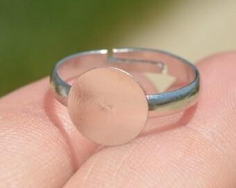 BULK 50 Silver Plated Adjustable Ring Blank F331