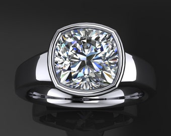 maddox ring – 2 carat cushion cut NEO moissanite engagement ring, bezel set engagement