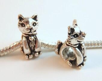 3 Beads - Cat Feline Animal Silver European Bead Charm E0902