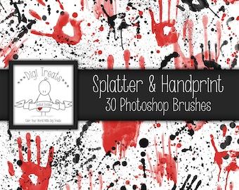 20% OFF Splatter & Hand prints Photoshop Brushes, 30 Photoshop brushes, INSTANT DOWNLOAD.