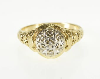 14K Round Diamond Inset Ornate Filigree Patterned Ring Size 4.75 Yellow Gold