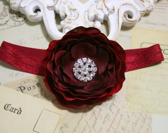 Burgundy Red Baby Headband..Newborn Baby Girl Valentines Day Headband..Burgundy Red Headband.Dark Red..Infant Baby Headband..Photo Prop