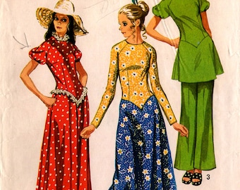 1971 Uncut Misses DRESS TUNIC PANTS Pattern Simplicity #9420 Size 12 Bell-Bottoms Retro Vintage 1970's Fashions Sewing