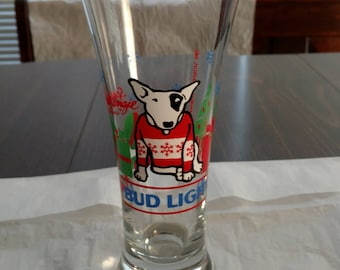 Spuds Mackenzie Bud Light holiday beer glass from 1987