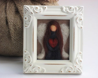 Needle Felted Angel- Small white picture frame