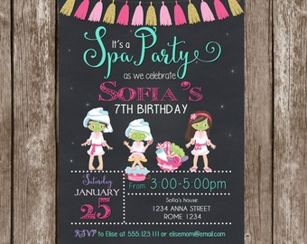 Glamour girl birthday spa invitation glamour girl birthday spa party invitation printable spa birthday invitation spa chalkboard invitation spa invitate girls filmwisefo Image collections