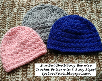 CROCHET PATTERN - Slanted Shell Baby Beanies in 3 Baby Sizes, Baby Girl Hat Pattern, Baby Boy Hat Pattern, Permission to Sell Finished Items