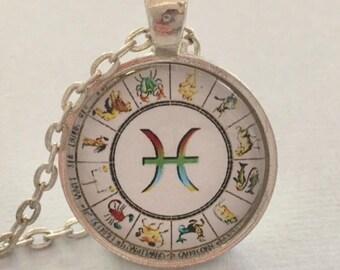 PISCES glass pendant necklace, Astrology necklace, Pisces jewellery, Silver astrology necklace
