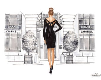 Chanel Fashion wall art Fashion sketch print Chanel fashion Paris fashion art Custom illustration Chanel art Black and white print