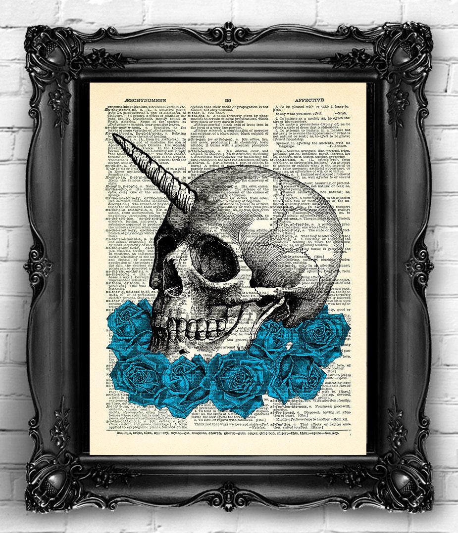 Cráneo azul arte rosas arte imprimir cartel de cráneo cráneo