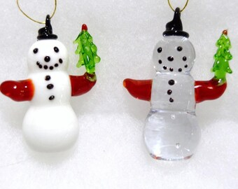 "Vintage NEW hand blown 2"" glass nowman with tree Christams ornament pair"