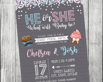 Cupcake or Stud Mufin Gender Reveal Invitation