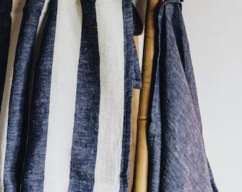 Linen Towel/  Wide Navy Stripes Towel/ Blue White Towel / Linen blanket