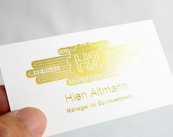 400 Business Cards - metallic foil stamped gold silver bronze and more - 16 PT heavy linen - custom printed