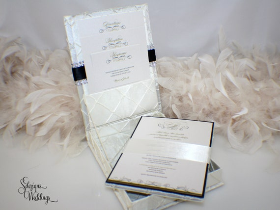 Fabric Wedding Invitations: Elegant Pintuck Fabric Box Wedding Invitation Opulent Ink
