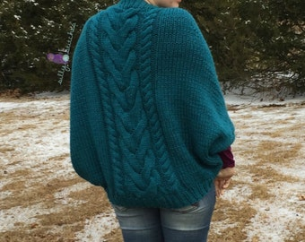 The Ultimate Chic Cabled Slouchy Sweater Wrap