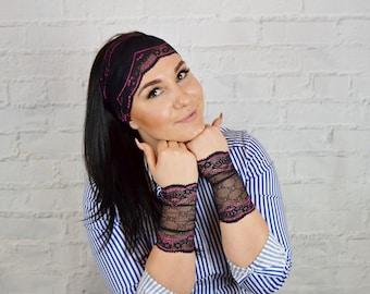 Black lace cuff bracelet Stretch headband Lace wrist cuff Lace band Lace jewelry Hippie headband Stretchy bracelet Lace mittens hw2080