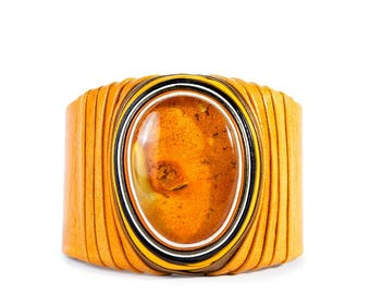 Handmade leather bracelet with Baltic Amber stone