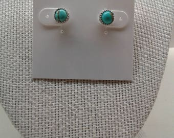 6 MM Turquoise Gallery Bezel Sterling Silver Post Earrings E-8