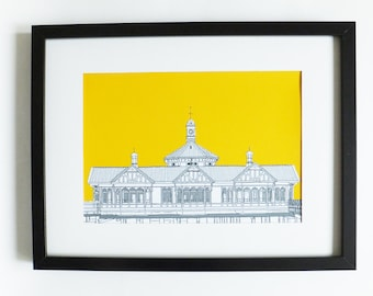Dunoon Print, Dunoon Pier Building, Scottish drawing, Scotland, art print, home decor, Picture