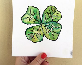 Four Leaf Clover Painting - Shamrock Art - Good Luck Charm Watercolor and Ink Painting by Jen Tracy - Emerald Green Clover Wall Hanging