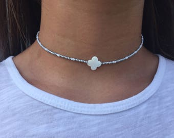 white and silver clover necklace