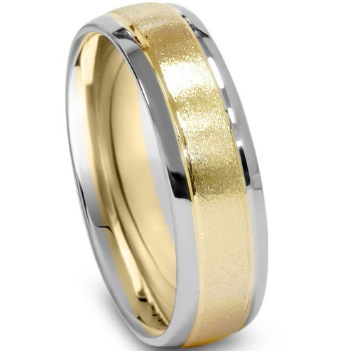 Mens Two Tone Wedding Ring 14K White Yellow Gold 6MM High