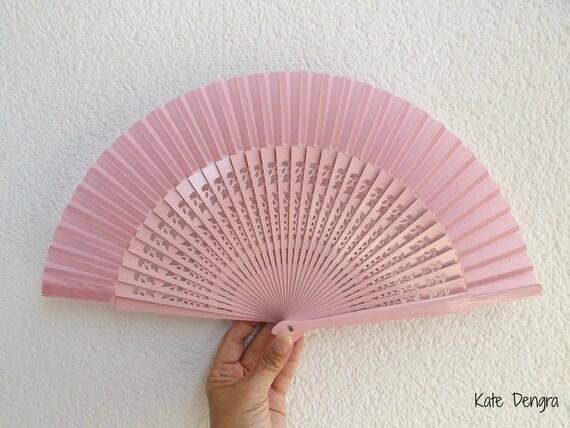 Std Fret Pink Wooden Hand Fan