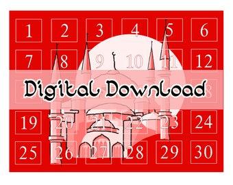 Ramadan Countdown Calendar (Red) - Digital Download