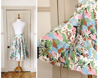The Farmstead 1950s Blue/White/Green/Brown/Black/Pink Farm Novelty Print Circle Skirt