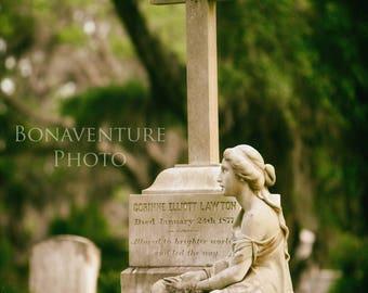 Bonaventure Cemetery Corinne Lawton Grave Angel Photograph Wall Art Print Savannah CB8