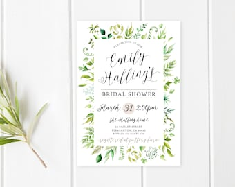 Bridal Shower Invitation, Bridal Shower Invitation Floral, Bridal Shower Invitation Printable, Greenery Bridal Shower Invitation [715]