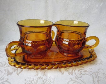 Indiana Glass Kings Crown Amber Glass Sugar and Creamer Set with Tray Great Condition!