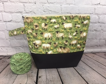 Sheep w/ Full length pocket, Knitting project bag, Crochet project bag,  Zipper Project Bag, Yarn bowl