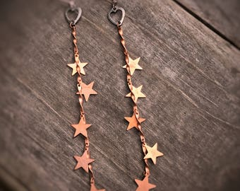 Vintage hearts and stars shoulder duster earrings