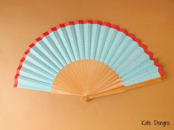 Turquoise and Coral Natural Wood Folding Hand Fan Abanico Eventail Wooden Fabric Hand Painted by Kate Dengra Spain